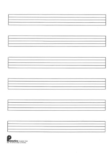 9780825690150: Writing Pad No. 15: 6-stave (Extra Wide): Passantino Manuscript Paper (Music Writing Pads)(fits 3 ring binder)