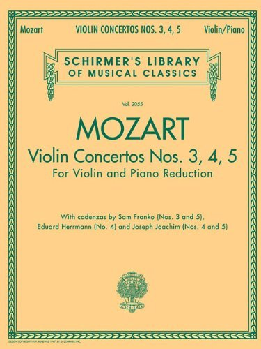 9780825832093: Violin Concertos Nos. 3, 4, 5: For Violin and Piano Reduction[ VIOLIN CONCERTOS NOS. 3, 4, 5: FOR VIOLIN AND PIANO REDUCTION ] by Mozart, Wolfgang Amadeus (Author) Aug-01-07[ Paperback ]