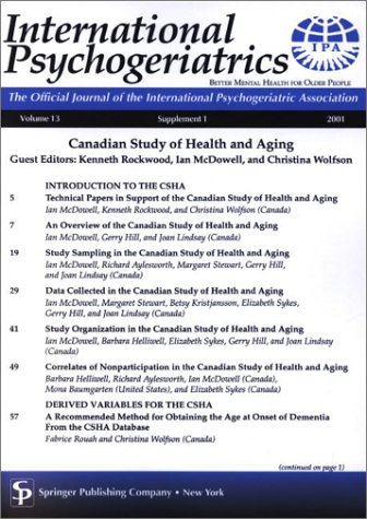 9780826114389: Canadian Study of Health and Aging: International Psychogeriatrics, the Official Journal of the International Psychogeriatric Association: