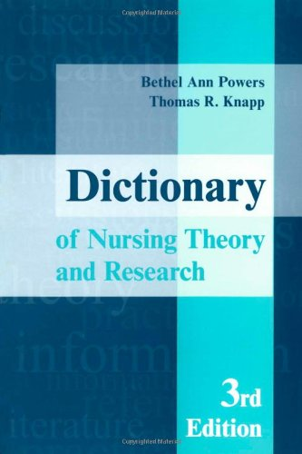 9780826117748: Dictionary of Nursing Theory and Research, Third Edition