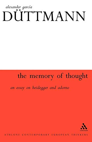 9780826459015: Memory of Thought (Athlone Contemporary European Thinkers S.)