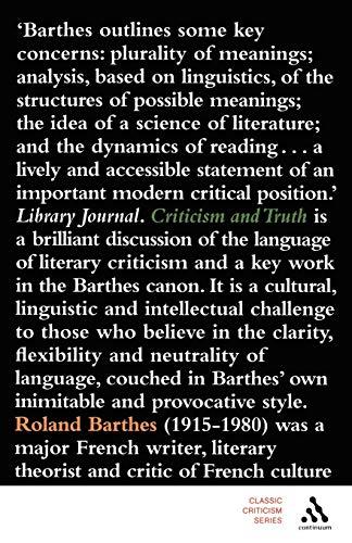 9780826494740: Criticism and Truth (Classic Criticism)