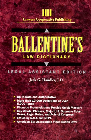9780827348745: Ballentine's Law Dictionary: Legal Assistant Edition