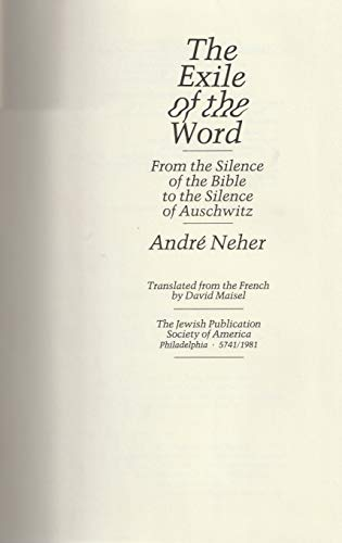 9780827601765: Exile of the Word: From the Silence of the Bible to the Silence of Auschwitz