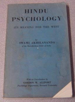 9780828313537: Hindu Psychology: Its Meaning for the West