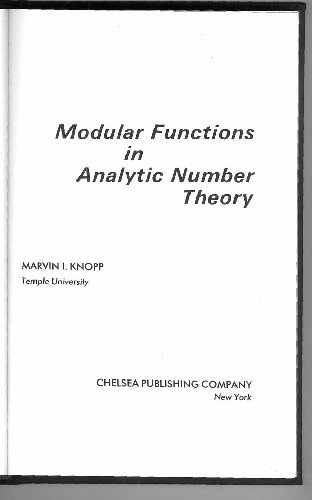 9780828403375: Modular Functions in Analytic Number Theory: Second Edition (AMS Chelsea Publishing)
