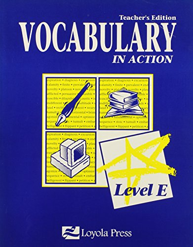 9780829409239: Vocabulary in Action Level E [Teacher's Edition] [Paperback] By Bowman (teacher's edition level E)