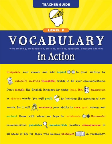 9780829427790: Vocabulary in Action Level F Teacher Guide: Word Meaning, Pronunciation, Prefixes, Suffixes, Synonyms, Antonyms, and Fun! (Vocabulary in Action 2010)