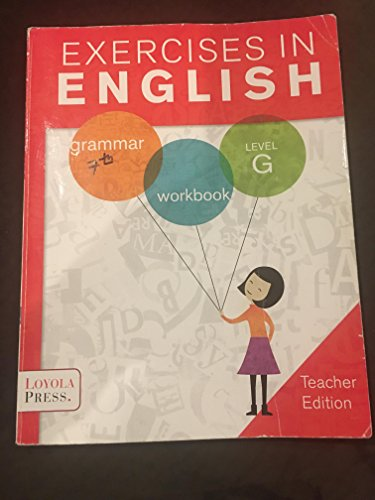 9780829436402: Exercises in English - Level G, Teacher Edition