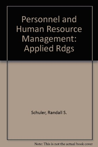 9780829904086: Personnel and Human Resource Management: Applied Rdgs (The West series in management)