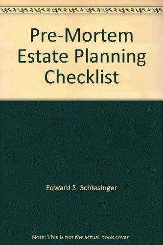 9780831808242: Pre-Mortem Estate Planning Checklist
