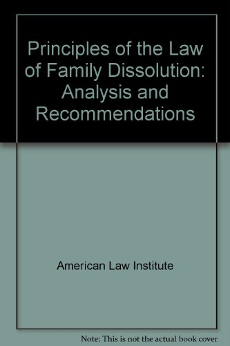 9780831812065: Principles of the Law of Family Dissolution: Analysis and Recommendations