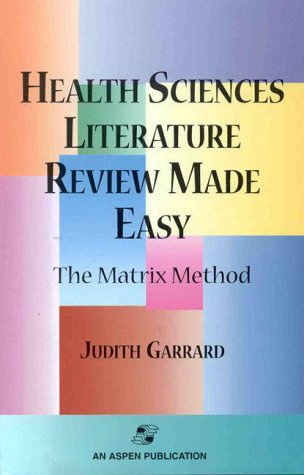 9780834212237: Health Sciences Literature Review Made Easy: The Matrix Method