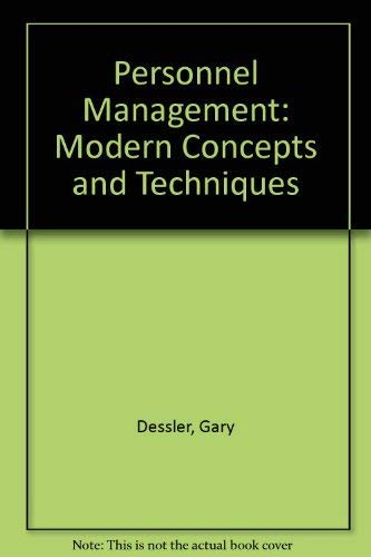 9780835955072: Personnel Management: Modern Concepts and Techniques