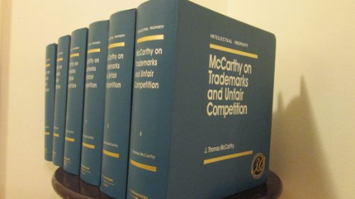 9780836611083: McCarthy on Trademarks and Unfair Competition (Intellectual Property Library)