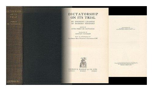 9780836916072: Dictatorship on Its Trial (Essay Index Reprint Series)