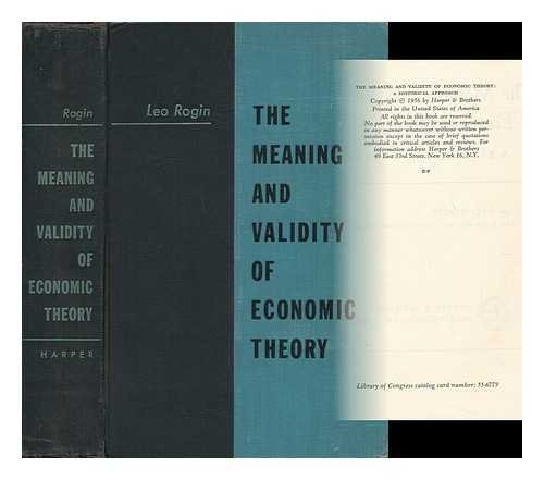 9780836921267: Meaning and Validity of Economic Theory