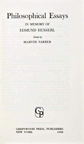 9780837100715: Philosophical Essays in Memory of Edmund Husserl