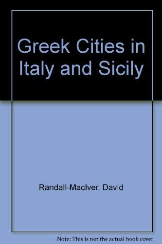 Greek Cities in Italy and Sicily: Randall-MacIver, David