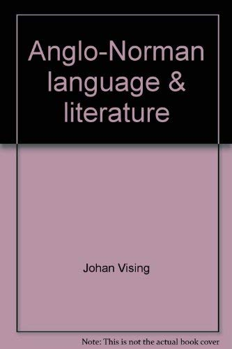 9780837145600: Anglo-Norman language & literature