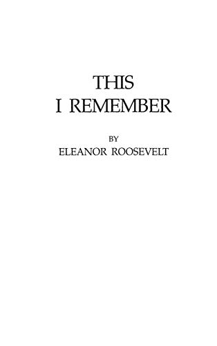 This I Remember (0837177022) by Roosevelt, Eleanor