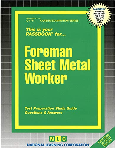 9780837317113: Foreman Sheet Metal Worker(Passbooks) (Passbook for Career Opportunities)