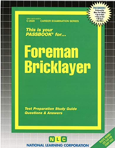 9780837320205: Foreman Bricklayer(Passbooks) (Career Examination Series, C-2020)