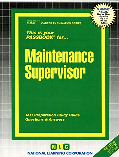 9780837320441: Maintenance Supervisor(Passbooks) (Passbook Series)