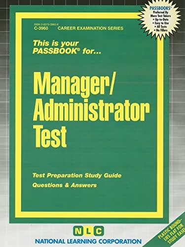 9780837339603: Manager/Administrator Test(Passbooks) (Career Examination Passbooks)