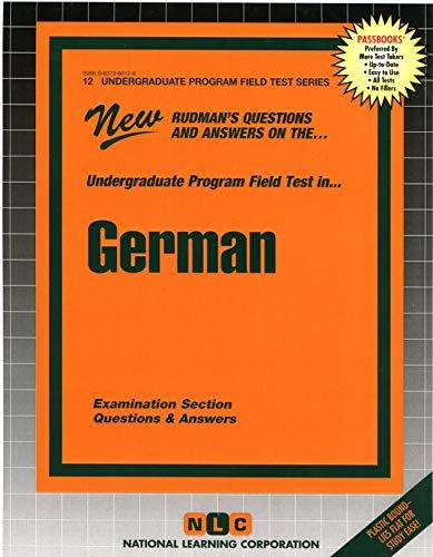 German (Undergraduate Program Field Test Ser. : Upft - 12): Jack Rudman