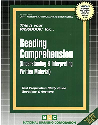 9780837367088: CIVIL SERVICE READING COMPREHENSION (General Aptitude and Abilities Series) (Passbooks) (Passbook Series Passbooks for Career Opportunities)