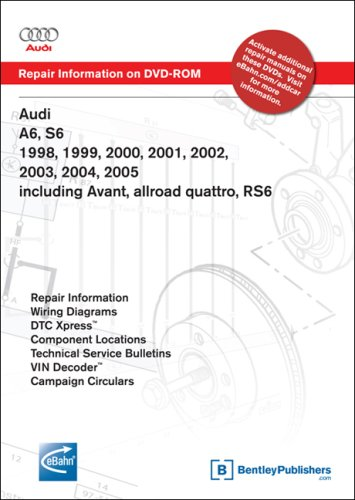 9780837612577: Audi A6, S6 1998, 1999, 2000, 2001, 2002, 2003, 2004, 2005 including Avant, allroad quattro, RS6 Repair Manual on DVD-ROM (Windows 2000/XP)