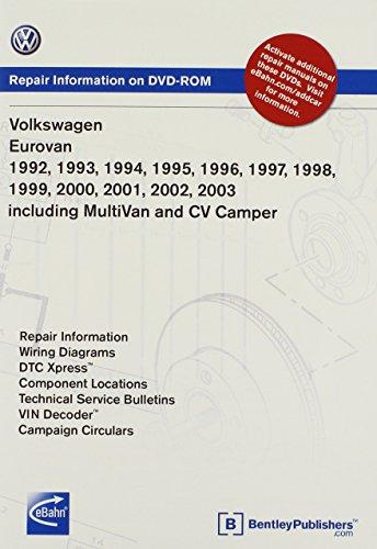 9780837612621: Volkswagen EuroVan 1992, 1993, 1994, 1995 1996, 1997, 1998, 1999 2000, 2001, 2002, 2003 including MultiVan and CV Camper Repair Manual on DVD-ROM (Windows 2000/XP)