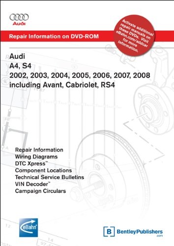 9780837613789: Audi A4, S4 2002, 2003, 2004, 2005, 2006, 2007, 2008 Includes Avant, Cabriolet, RS4 Repair Manual on DVD-ROM (Windows 2000/XP)