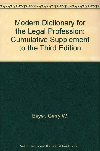 9780837730363: Modern Dictionary for the Legal Profession: Cumulative Supplement to the Third Edition