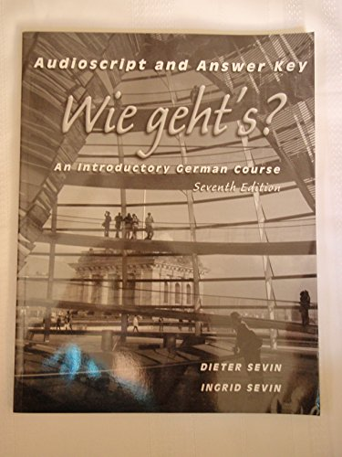 9780838407899: Workbook/Lab Manual Answer Key for Wie geht's?: An Introductory German Course, 7th