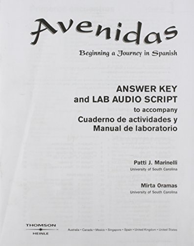 9780838423158: Answer Key (with Lab Audio Script) for Avenidas: Beginning a Journey in Spanish