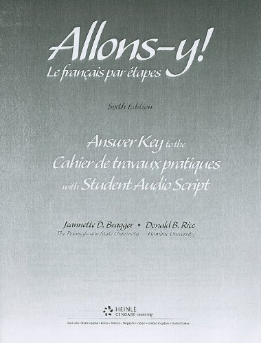 9780838460283: Workbook/Lab Manual Answer Key for Allons-y!: Le Français par etapes, 6th