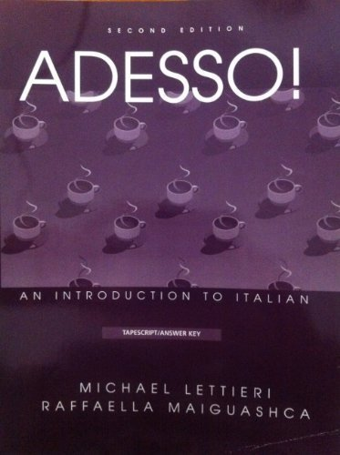 9780838467053: Adesso!: An Introduction to Italian : Tapescript, Workbook Answer Key