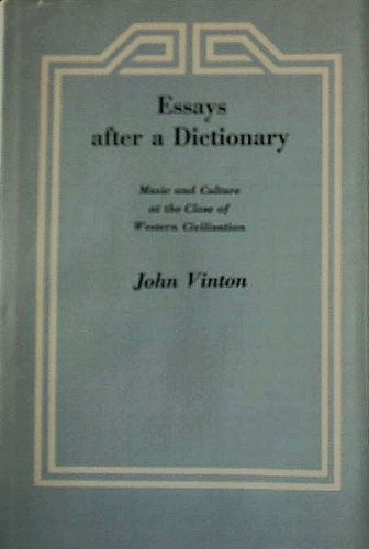 Essays After a Dictionary: Music and Culture: John Vinton