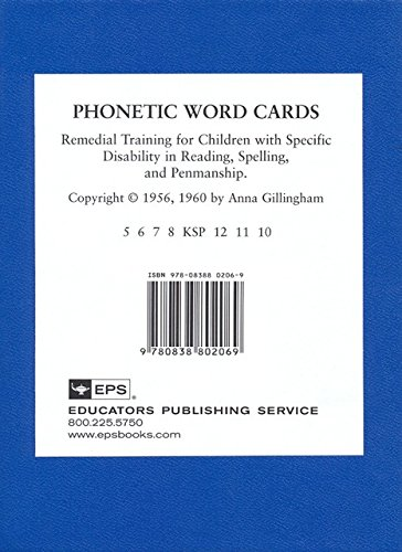 Phoenetic Word Cards: Remedial Training for Children: Anna Gillingham