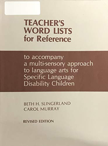 9780838802182: Teacher's Word Lists for Reference (Revised Edition)