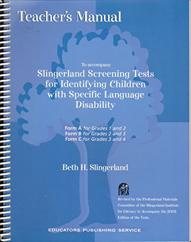 9780838802465: Teacher's manual to accompany Slingerland screening tests for identifying children with specific language disability: Form D for grade V and grade VI