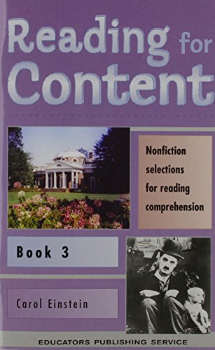 Reading for Content: Nonfiction Selections for Reading Comprehension, Book 3 (Grade 5) (9780838816530) by Einstein, Carol