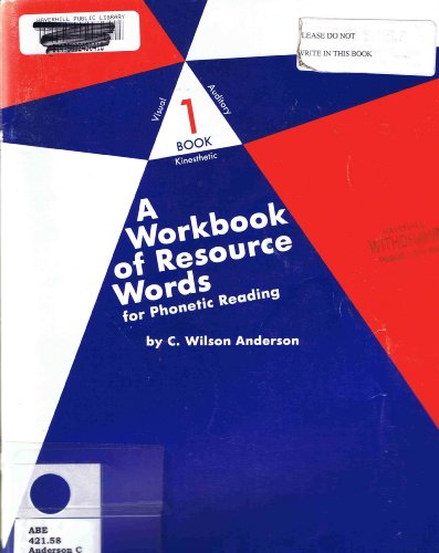 9780838817483: A Workbook of Resource Words for Phonetic Reading (VAK: Visual, Auditory, Kinetic, 1)