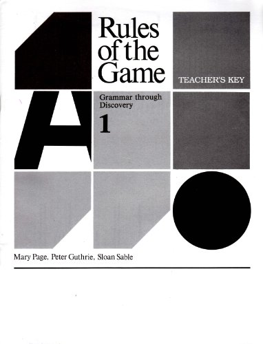 9780838822388: Rules of the Game: Grammar Through Discovery/Book Answer Key