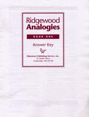 Ridgewood Analogies, Book One, Answer Key: Educators Publishing Service, Inc.