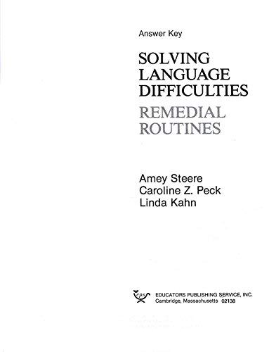 9780838893265: Solving Language Difficulties Remedial Routines Answer Key