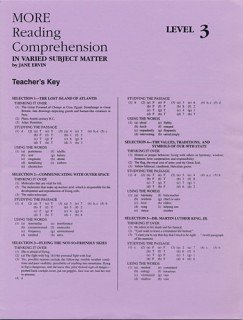 9780838896082: More Reading Comprehension Level 3 - Answer Key