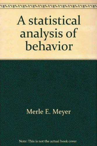 9780839600534: A statistical analysis of behavior